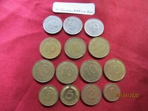 Collectible-West-amp-Reunified-Germany-Coins-Lot-of-14-dates-1950-to-1994