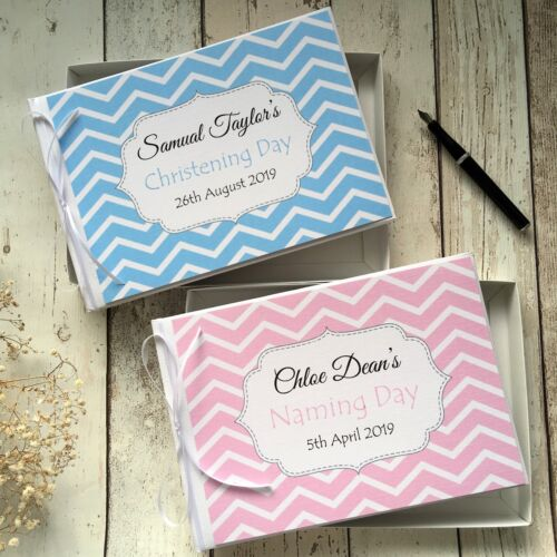 PERSONALISED BABY CHRISTENING //NAMING DAY GUEST BOOK IN BOX ~ PINK//BLUE CHEVRON