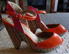 Unlisted Relay Orange Patent Straw Wedge Sandal Colorful Shoes Summer Fun Sz 7