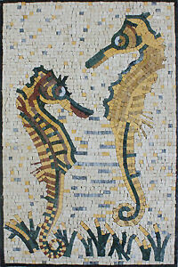 Wall-Hanging-Two-Cute-Sea-Horses-Art-Tile-Stone-Marble-Mosaic-AN935