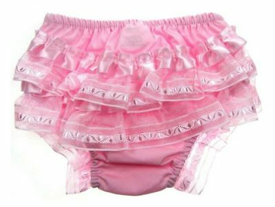 Baby Girls Romany Cotton Frilly Nappy Covering Pants Pink Organza /& Satin Bow