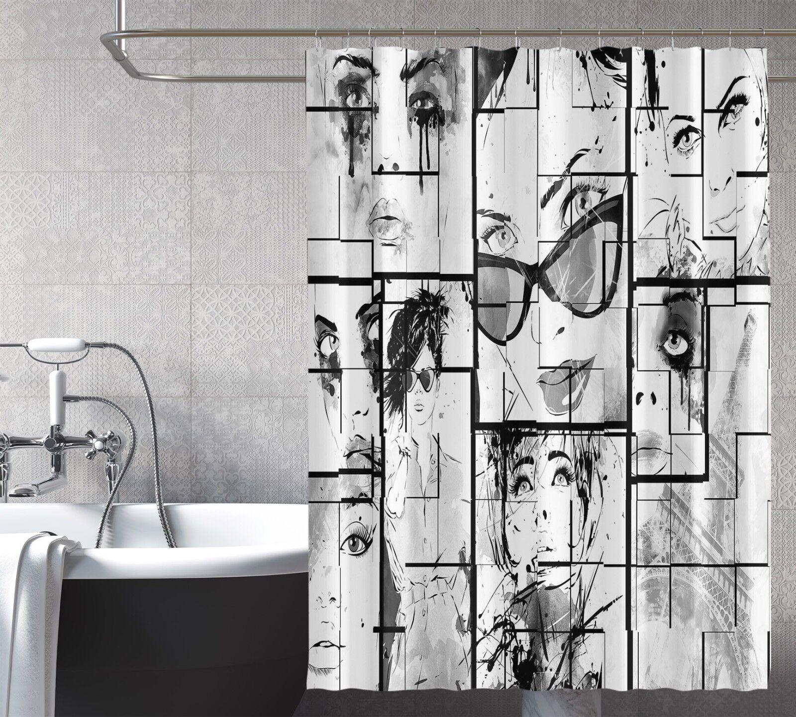 3D Comic Girl 231 Rideau de Douche Imperméable Fibre Salle de Bain Home Windows Toilette