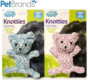 1-X-PET-BRANDS-KNOTTIES-DOG-PUPPY-DENTAL-TEETHING-CHEW-TOY-NATURAL-COTTON-BEAR