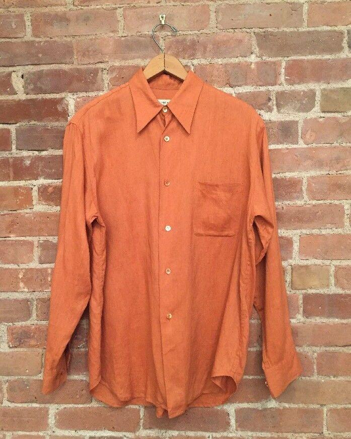 Equipment Mens Shirt, 100% Linen, Size Medium, Burnt orange, Enjoy