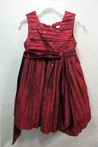Sweet-Heart-Rose-Girls-Toddler-Red-Sequin-Holiday-Christmas-Dress-Size-2T