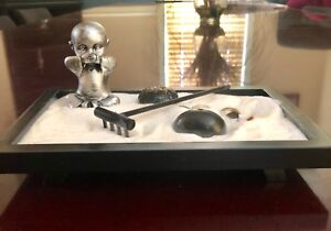Desk top SPEAK NO EVIL Zen Garden with Baby Monk and accessories