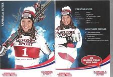 AUTOGRAFO AK Raphaela Suter ski alpine svizzera firmato a mano sorella V. Jasmina