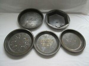 5 vintage old Bitler Famous Calumet Evenslice metal advertising pie tins plates