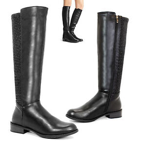 WOMENS-GIRLS-MID-CALF-FLATS-LEATHER-RIDING-ZIP-KNEE-BIKER-SHOES-BOOTS-SIZES-3-8