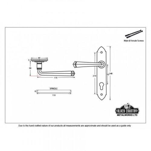 Black Finish Gothic Style Lever Espagnolette Lock Door Handle Set