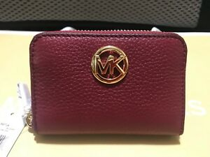 Michael-Kors-Fulton-Zip-Around-Coin-Purse-Leather-Wallet-NWT