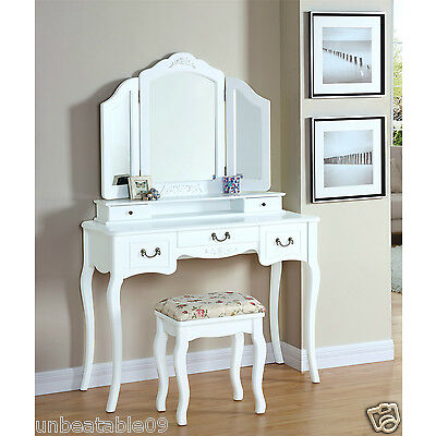 Dressing Table Set White Ivory Black Silver Stool Large 3 Panel Mirror Bedroom