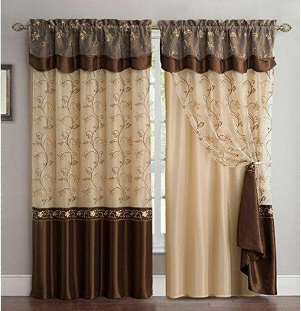 Fancy Window Curtain Set 1 Panel Drape Backing Valance Living Room Design Brown For Sale Online Ebay
