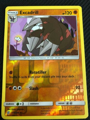 SM UNIFIED MINDS EXCADRILL 119//236 RARE REVERSE Pokemon