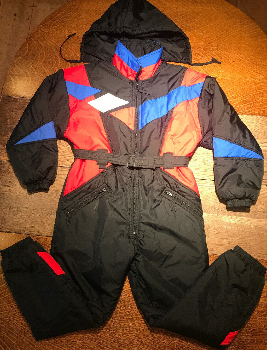 VTG 90s Apparatus One Piece Snow Ski Suit Farbe Block Geometric Youth L 14-16
