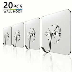 Details about  /20Pcs 6x6cm Transparent Strong Self Adhesive Door Wall Hangers Hooks