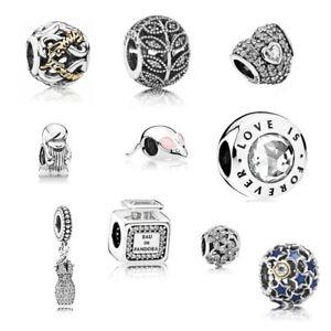 f0c527825d1c88 Details zu PANDORA Charms Anhänger 925 Silber Family Funkelnde Blätter Pave  Beads Kleid