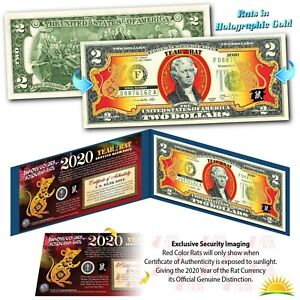 When Is Chinese New Year 2020.Details About 2020 Chinese New Year U S Genuine 2 Bill Year Of The Rat Gold Hologram Blue