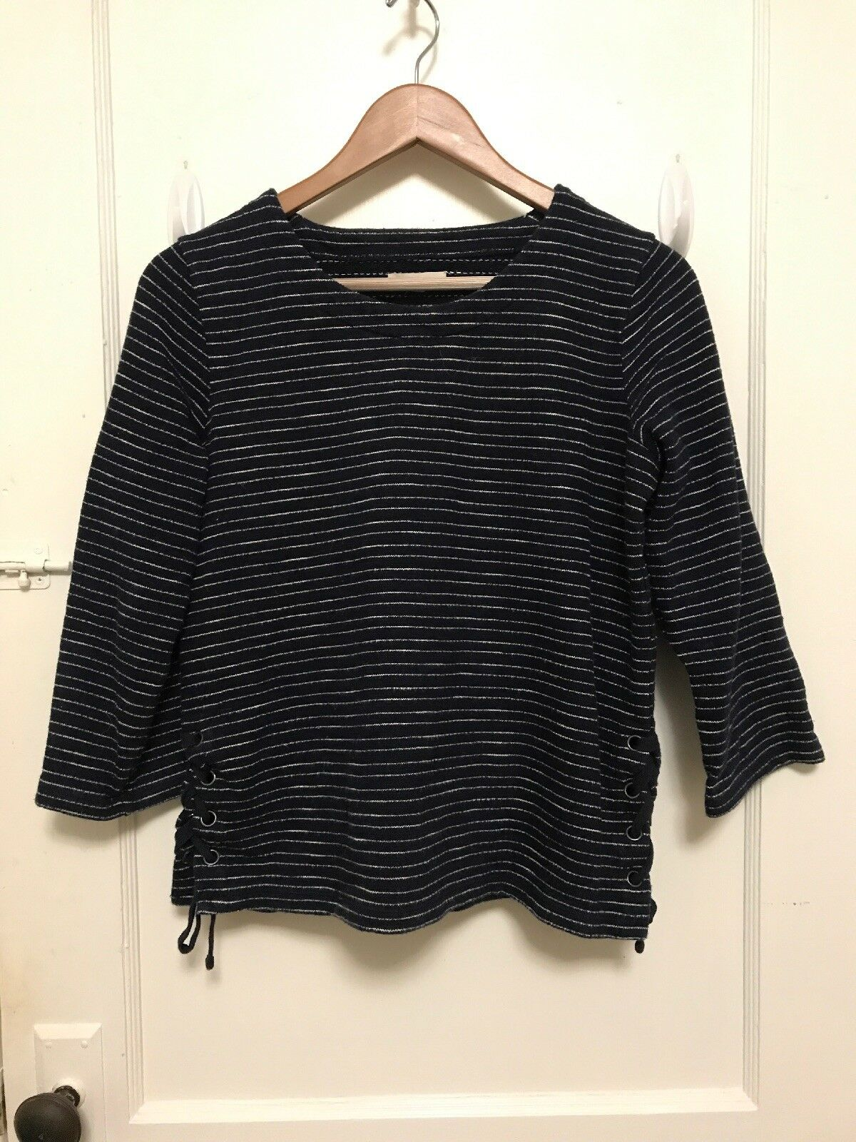 Madewell bluee White Stripe Side Tie Sweater Pull Over size Small