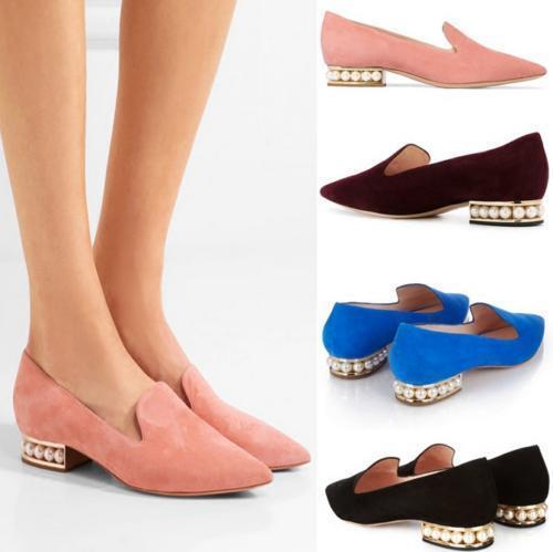 Para mujeres Zapatos Tacón Bajo en Punta Punta Punta de Perla antideslizante en mocasines de boda Gamuza Grace    compras en linea