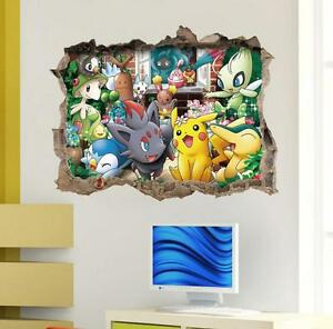 New 3d Pokemon Pikachu Friends Removable Wall Stickers Decal Kids