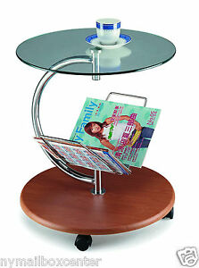 b7712198f5 End Side Table Magazine Rack - Round Glass Top Wood Base & Chrome ...