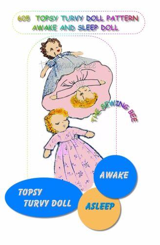 Topsy Turvy Upside Down Rag Doll Pattern Awake /& Asleep vintage # 605