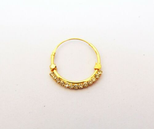 Indian Hoop CZ Nose Ring Bridal Golden Nath Nose Piercing Ring New Women Jewelry
