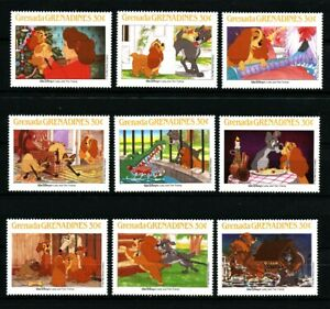 Lady-and-The-Tramp-set-of-9-stamps-mnh-1988-Grenada-Grenadines-990a-i