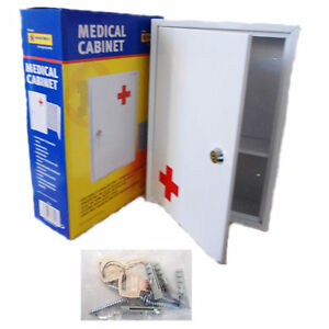 First-Aid-Medical-Cabinet-Wall-Mount-Case-Stainless-Steel-Lockable-Safe-Box
