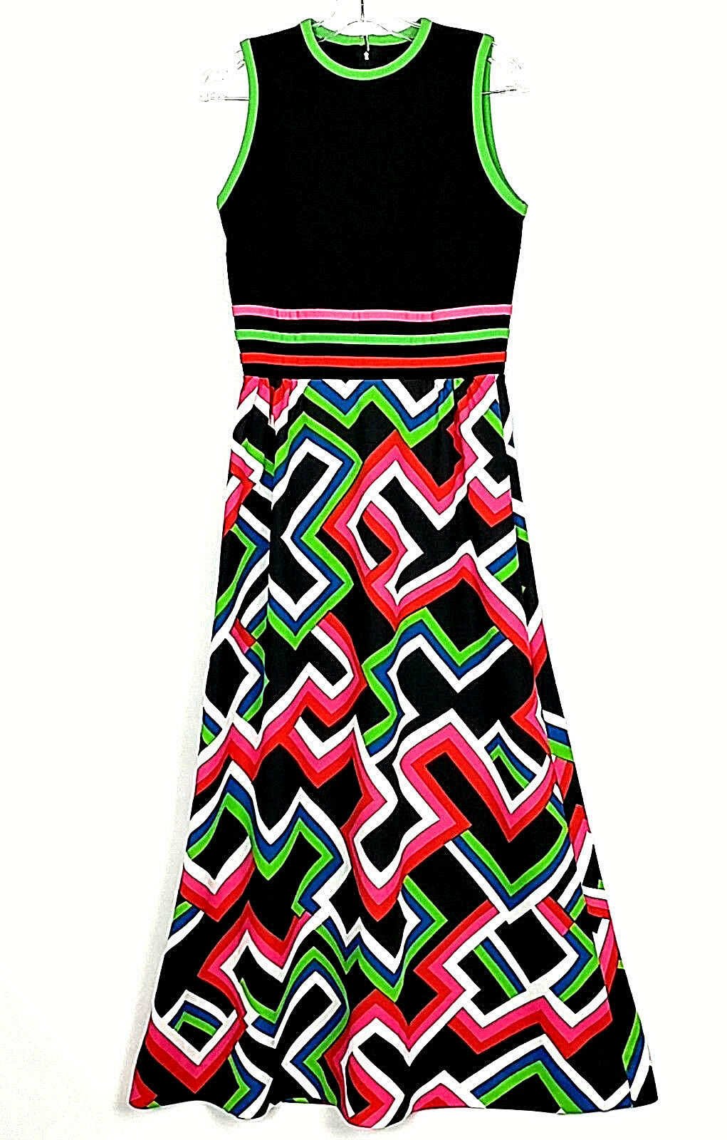 VTG 70's MOMENTUM Woherren High Waist Geometric A-Line Maxi Dress Sz 10 schwarz rot