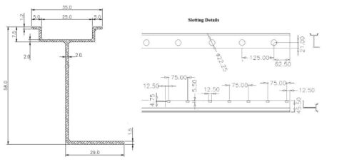 10 pieces of 1 meter Extruded Aluminum Slotted DIN Rail Heavy Weight 2mm Thick
