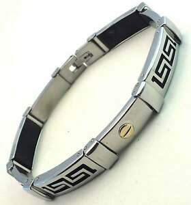 MEN'S NEW CLASSIC GREEK BRACELET STAINLESS STEEL & GOLD directly from Italy - Italia - MEN'S NEW CLASSIC GREEK BRACELET STAINLESS STEEL & GOLD directly from Italy - Italia