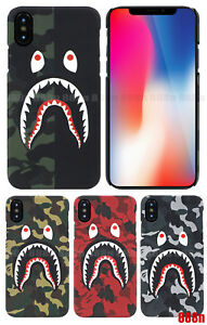 separation shoes 76961 ebdb3 Details about A Bathing Ape Bape ABC Camo Shark Case For Apple iPhone XS  Max XR X 8 7 Plus 6S