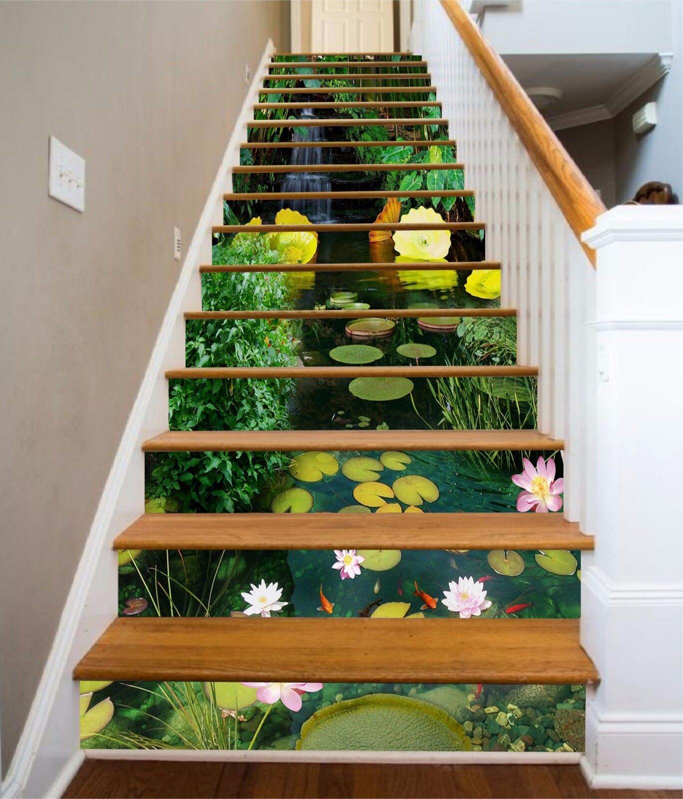 3D Pond lotus leaf Stair Risers Decoration Photo Mural Vinyl Decal Wallpaper AU