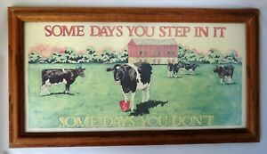 Art-Cows-Country-Farmhouse-Motto-034-Some-Days-You-Step-In-It-034-Framed-Print-Saying