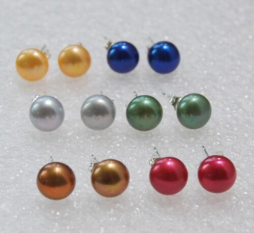 Vente en Gros 6 Paires 6 Couleurs 7-8 mm Akoya Cultured Pearl Argent Clous d/'oreilles AAA