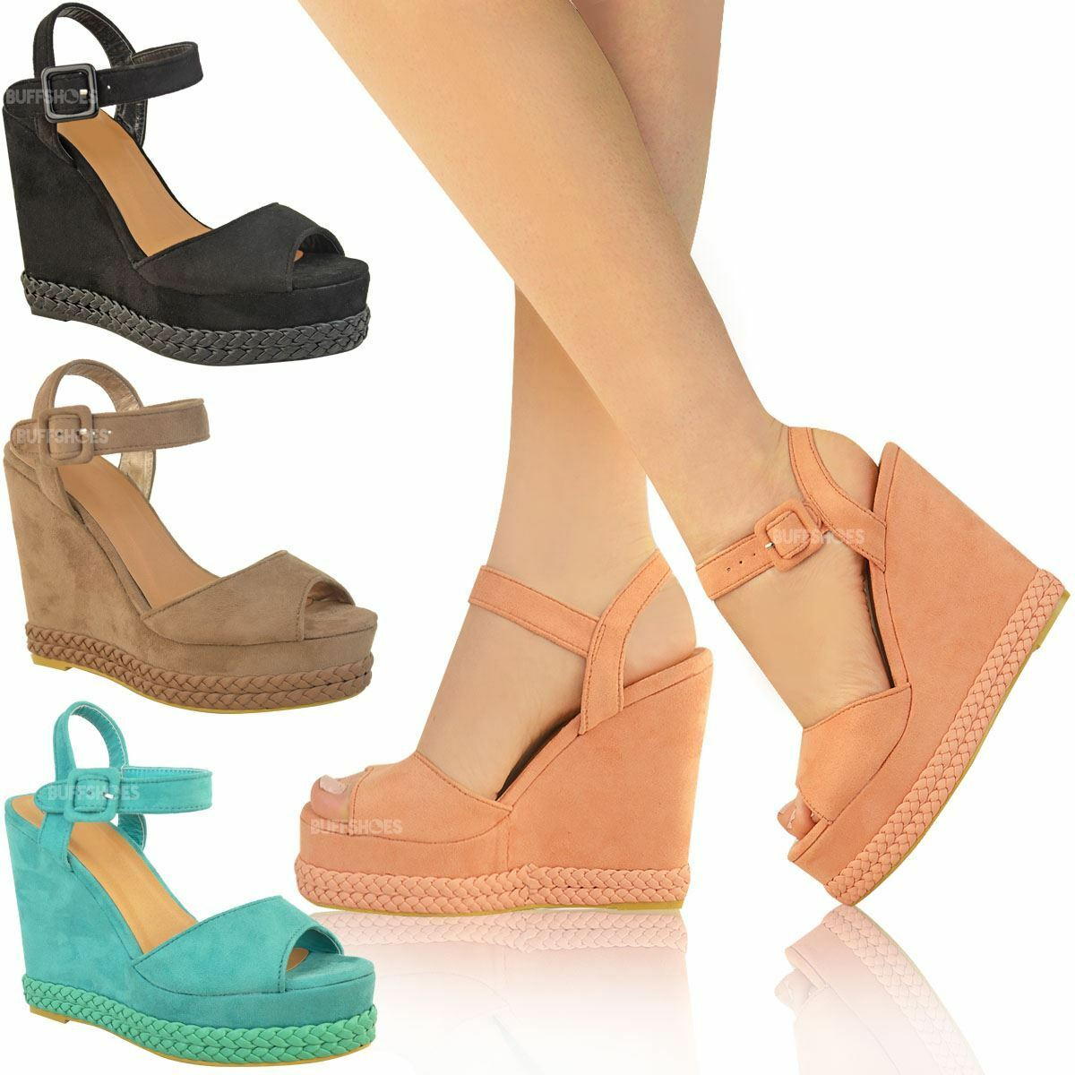 Womens Ladies Wedges High Heel Summer Sandals Ankle Strappy Platforms Shoes Size