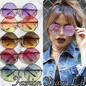 496308bfad8a0 OCTAGON OVERSIZED OMBRE GRADIENT LENS RIMLESS COLORFUL FASHION RETRO ...
