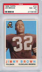 1959 Topps Jim Brown PSA 8 NM-MT Football Card #10 Cleveland Browns ~ Centered