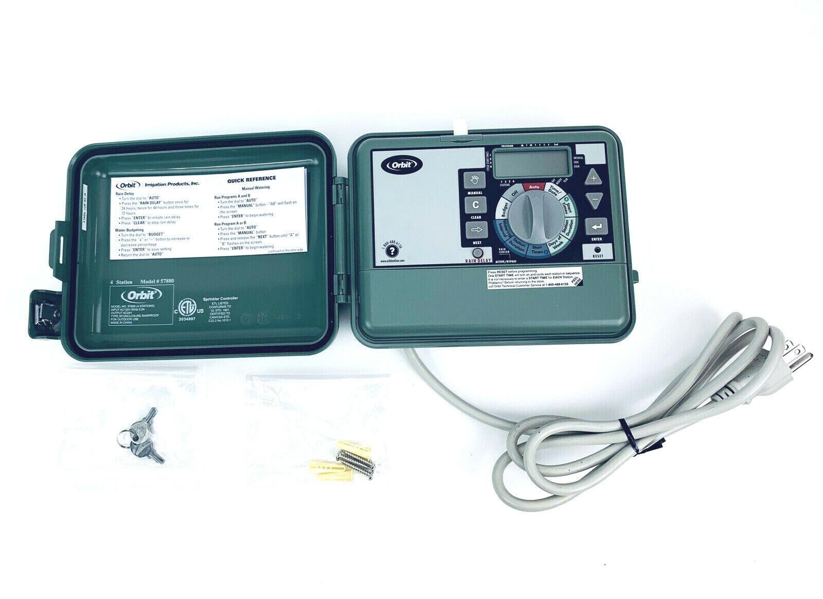 Orbit 4-Station Easy-Set Logic Sprinkler Timer, Indoor/Outdoor, Model 57894
