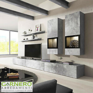 Dettagli su Parete attrezzata EMOTION Gihome® mobile porta tv soggiorno  moderno design led