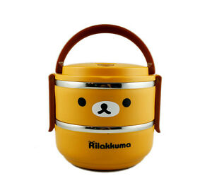 san x rilakkuma stainless steel metal bento lunch box food container for kids ebay. Black Bedroom Furniture Sets. Home Design Ideas