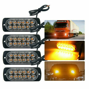 4PC-Amber-12LED-Emergency-Flashing-Strobe-Light-Truck-Car-Recovery-Beacon-lamp
