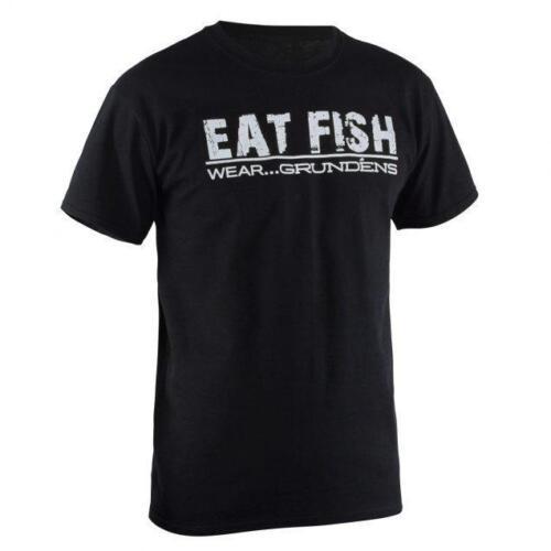 M ___ S53 Angelsport Neu Lizenziert Grundens Essen Fisch Schwarz/Weiß Fischen T-Shirt GR