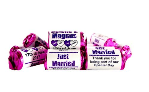 Personalised Love Hearts Sweets wedding favours Mini Love Hearts Just Married