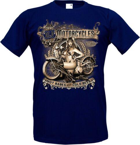 T Shirt Blue HD V Twin Pin up Biker Chopper/&oldschooldruck Model Old Motorcycle