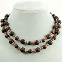 2 Strands Black Lava & Red Coral Beads Necklace W/silver Plated Toggle 18
