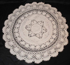 Image Is Loading ANTIQUE LACE BATTENBURG ROUND TAPE LACE TABLECLOTH  VICTORIAN