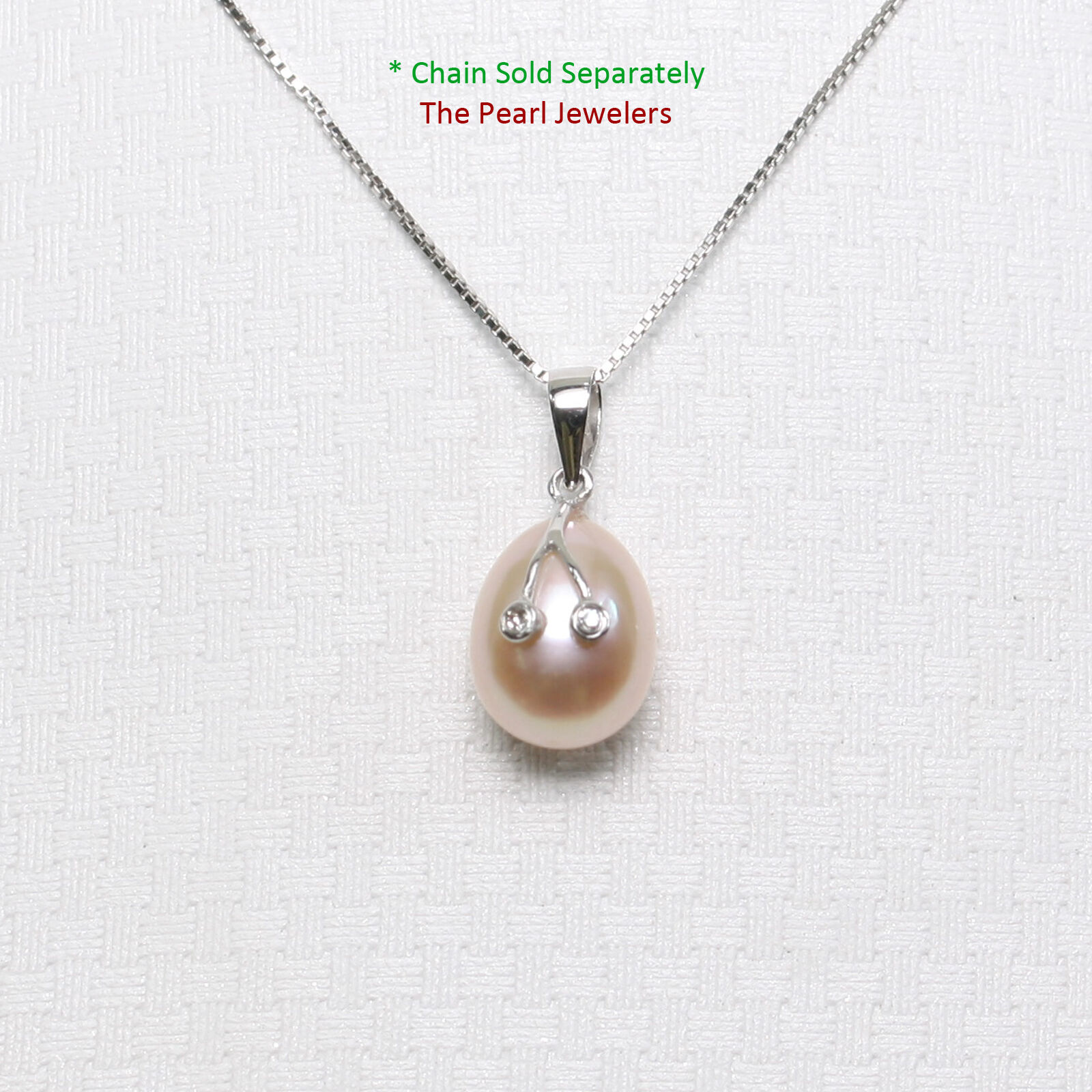 14k White gold 2 Diamond Eyes Design; AAA 7.5-8 mm Peach Cultured Pearl Pendants